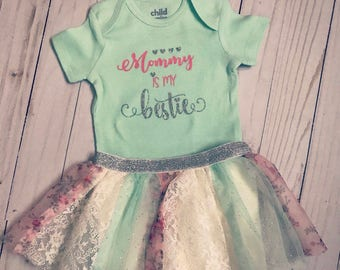Beautiful custom baby girl outfit, Mommy is my bestie or curtom onesie outfit