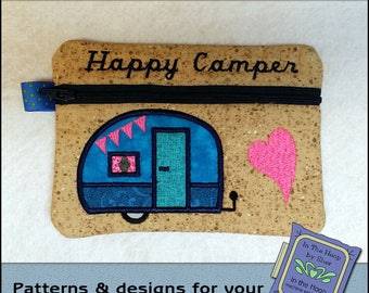 ITH Tiny Camper Zipper Bag - Fully Lined - In The Hoop Zipper Bag - Embroidery Design - 5 x 7 Hoop