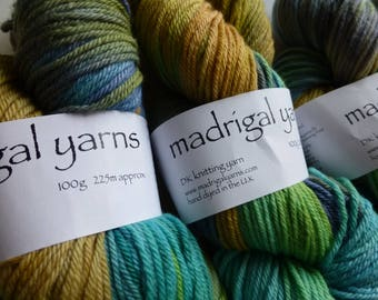 Hand Dyed Knitting Yarn from Madrigal Yarns - Apples 100g Skein