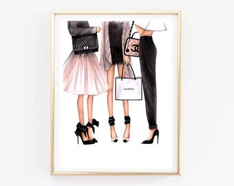 Fashion Illustration Chanel art Chanel print Fashion wall art Coco chanel art Chanel poster Chanel art print Chanel home decor Chanel girls