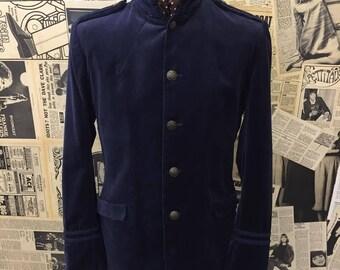 "Rare Vintage 1960s Navy Blue Velvet Military Jacket With Braiding & Nehru Collar Size Medium 40"" Chest FREE WORLDWIDE POSTAGE"