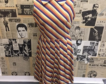 Amazing Vintage 1970s Diagonal Stripe Midi Dress by Berkertex Big Collar Pleated Skirt Approx UK Size 12 FREE WORLDWIDE Postage