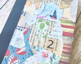 Little notebook, sketchbook, pocket sketchbook, pocket notebook, mini journal, with vintage and modern paper collaged cover