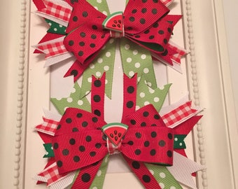 Layered Watermelon Pig Tail Bows