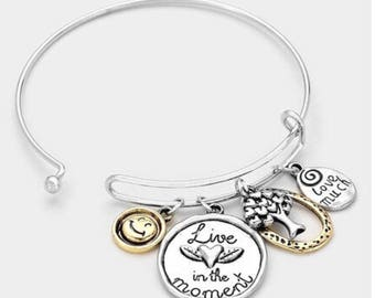 LIVE THE MONENT tree of life charms bracelet
