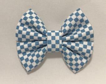 Blue Gingham - Fabric Barrette Bow