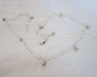 Retro Modern Brushed Silver Tone Ball & Link Necklace Cool
