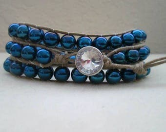Blue Glass Beads Wrap Bracelet