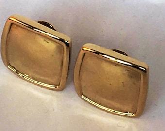 Monet clip earrings - Monet clip on - gold earrings - square earrings - everyday earrings - 1980s earrings - vintage gold - clip earrings