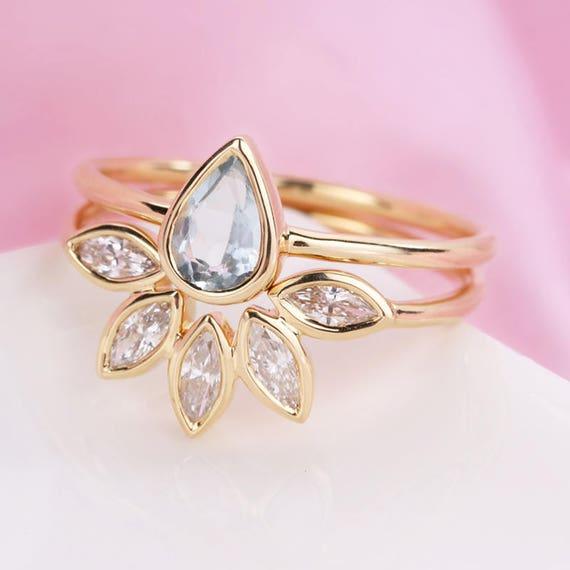 Aquamarine Stacking Gold Ring