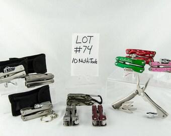 10 Multi Tool Lot # 74 Folding Knives Cabelas Snap On + More