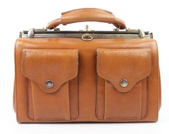 VINTAGE bag rigid split leather Brown handbag in good condition (2004)