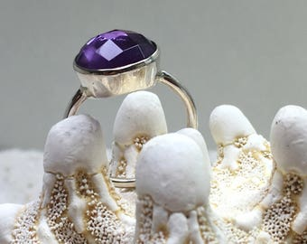 Sterling Silver Ring with Amethyst / gemstone ring / natural untreated stone