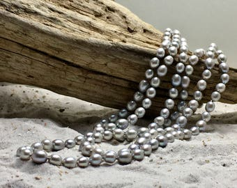 Very long grey Fresh-Water Pearl Necklace