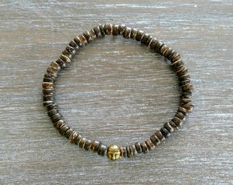 Men bracelet with buddha and coconut beads