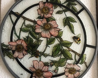Hand Painted Stained glass suncatcher - Dog Rose