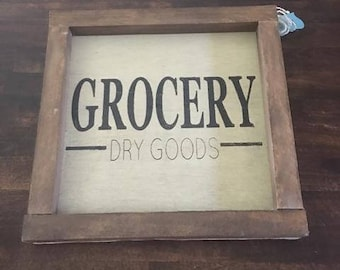 Grocery Dry Good Wood Sign