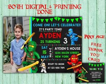 Ninjago Geburtstag Einladungen Ninjago Foto Partei Ninjago Kinder  Geburtstag Druckbare Einladungen Ninjago Druckvorlage Geburtstagskarte