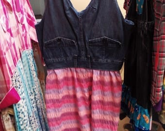 upcycled jeans into a dress, size 4