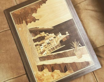 Vintage Inlaid Marquetry Art // VTG Wooden Landscape Artwork // Midcentury Wood Veneer Picture