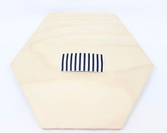 Black and White Stripe Leather Snap Clip