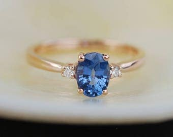 Blue sapphire engagement ring. Promise ring. Oval engagement ring. 3 stone ring. Rose gold engagement ring. Gemstone ring by Eidelprecious