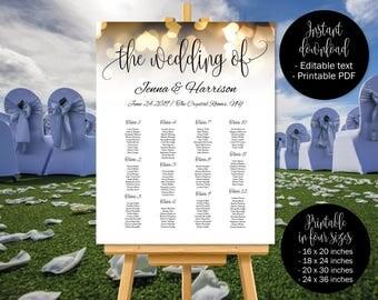 Gold Wedding Seating Chart Template, Wedding Seat Plan Printable in Gold Hearts Design, Wedding Table Plan, Table Plan, Seating Chart Plan