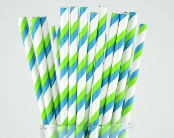 Green/Blue Striped Paper Straws - Party Decor Supply - Cake Pop Sticks - Party Favor