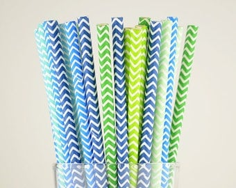 Green/Blue Mix Chevron Paper Straws - Mason Jar Straws - Party Decor Supply - Cake Pop Sticks - Party Favor