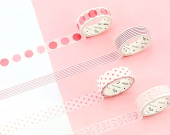 Set of 4 Rolls Pink Striped/Dots Washi Tape - 15mm x 7m - Gift Wrapping - Decorative Tape - Scrapbooking Sticker