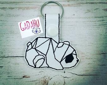 Cute Geometric Panda Key Fob Snap Tab Embroidery Design 4X4 size. Instant Digital Download.