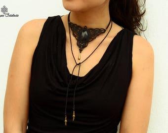 Black Obsidian necklace. macrame necklace. bohochic. bohemian. choker . quartz. hippiechic. jewelry. macrame jewelry. ethnic
