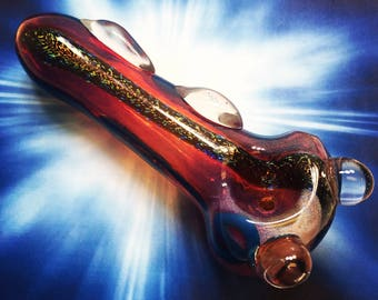 Red and Blue Glitter Glass Smoking Pipe, Tobacco Pipe, Spoon Pipe