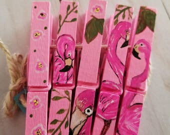 Flamingos Hand Painted Clothespins//Photo and Place Card Holders// READY TO SHIP