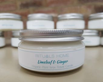 Natural Organic Candle Travel Tin LIMELEAF & GINGER - vegan candle, plant wax, eco-friendly gift, natural scented candle, Mother's Day Gift