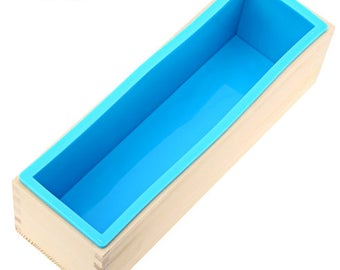 Rectangular Wooden Soap Mold, Silicone Liner, 1200 gram / 42 oz