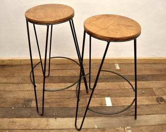 Industrial wood and steel stool bar restaurant loft style