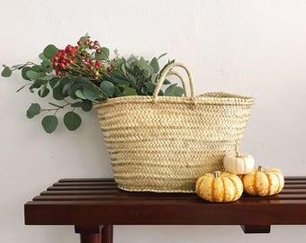 straw bag, straw basket, French Market bag, Summer carrycot bag, palm tree leaves bag, basket, beach bag, straw market basket