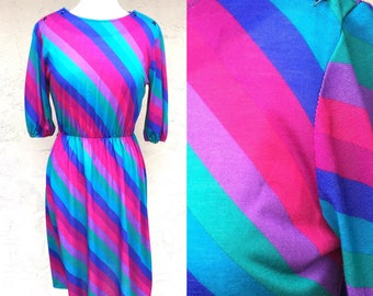 Vintage 1970s Disco Dress/ 1970s Rainbow Dress/ Vintage 70s Dress/ Queens Row Inc Dress/ 1970s Dress/ Striped Dress