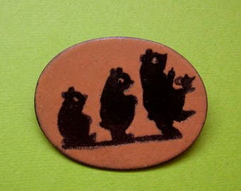 Vintage Artisan Copper and Enamel Pin - Three Bears with Honey and Tea - Signed - Mid Century