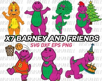 barney and friends svg, clipart, stencil, decal, png, eps, dxf, cut files, circuit, cameo silhouette