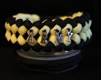 United States Go Army Black and Yellow Handmade Paracord Bracelet and w/Charms