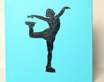 Light Blue Figure Skater Painting - Lovely Spiral 12x12