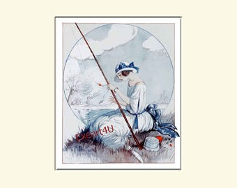 George Pavis Fishing Sport Art Deco Mode Fashion Young Woman Female Beauty Art Print