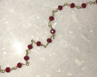 Solid Red Beaded Choker Necklace