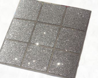 Pack of 10 black glitter mosaic tile stickers transfers, with added gloss affect, just peel and stick, bathroom kitchen