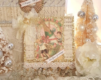 Vintage Shabby Chic New Year Greetings Ornament German Glass Glitter New Year Ornament Hanger With Crystal Trim