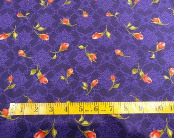 Roses on purple fabric by the yard, purple cotton, 1944 roses vintage quilting cotton, roses quilting fabric, purple sewing fabric