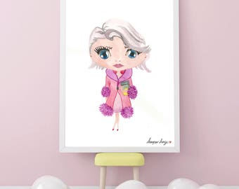 Little Girl Watercolour Art Print. Nursery Room. Wall Art. Gift. Birthday. Watercolor Illustration. Illustration Little Girl. Digital Print
