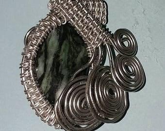Silver Colored Copper Wire Wrapped Pendant